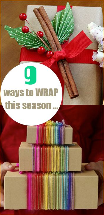 Christmas Wrap.  Steer away from the usual wrapping job and use these creative ideas to showcase your gifts.
