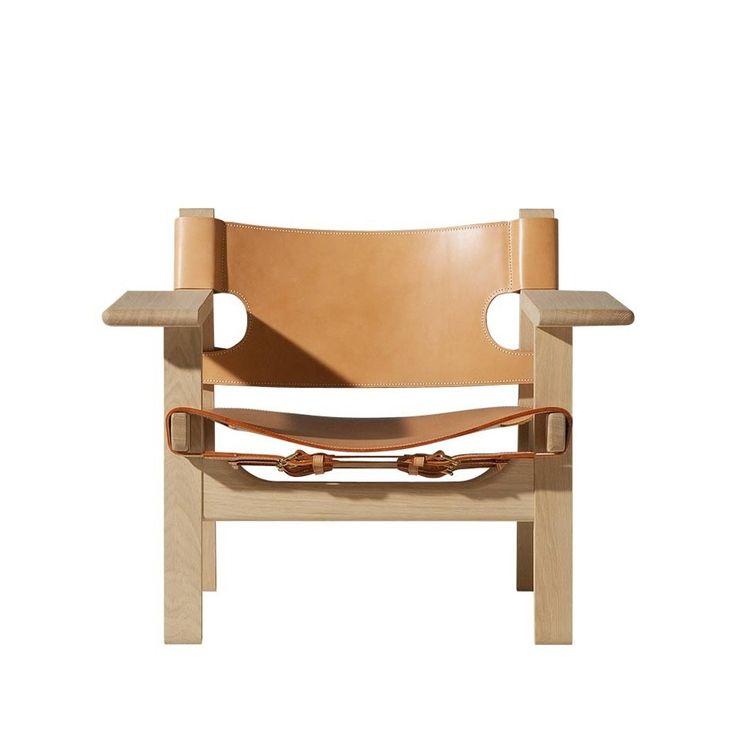 Den Spanske Stol - obehandlad ek, naturfärgat läder