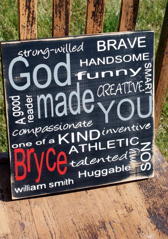 wonderful for boys' rooms!: Subway Art, Art Ideas For Baby Rooms, Art And Crafts For Boys Rooms, Crafts Ideas For Boys Rooms, Rooms Ideas, God Made You, Custom Typography, Typography Signs, Kids Rooms