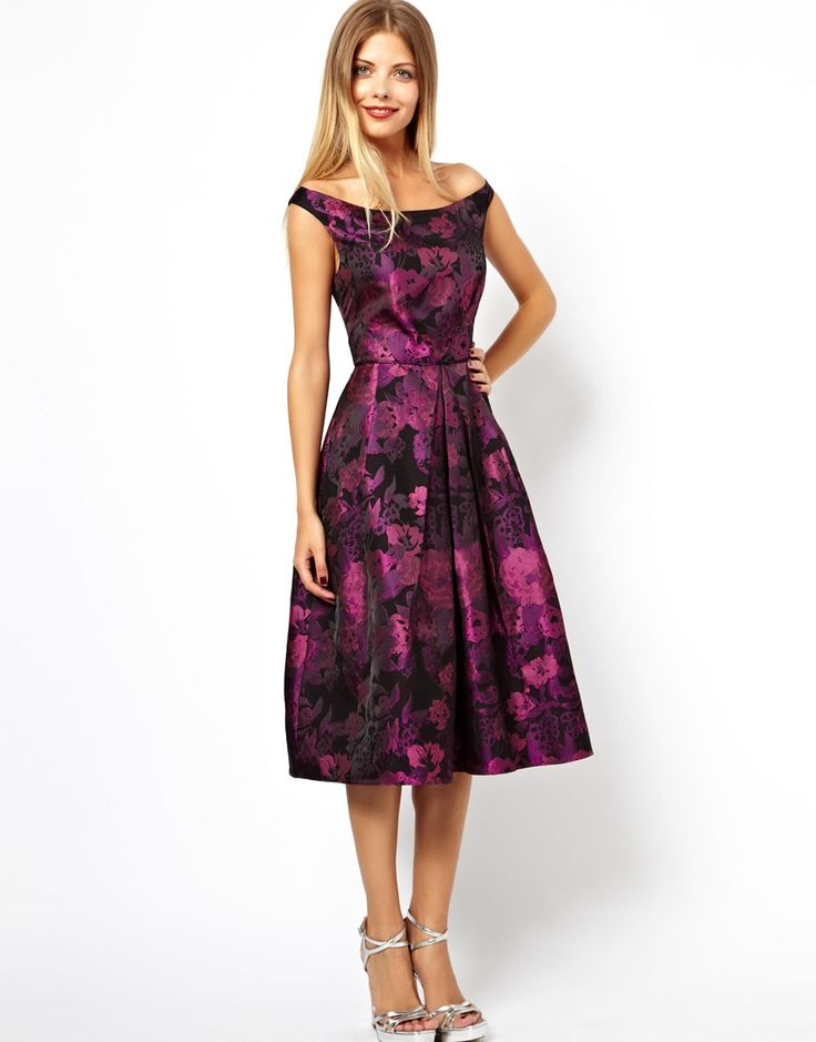 Purple Bardot Style Bridesmaids Dress
