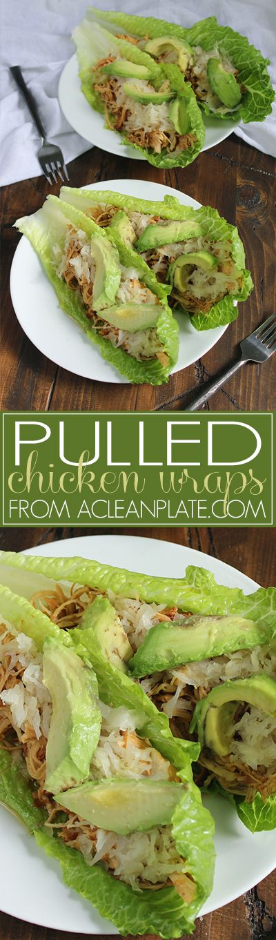 Pulled Chicken Sandwich Wraps recipe from A Clean Plate