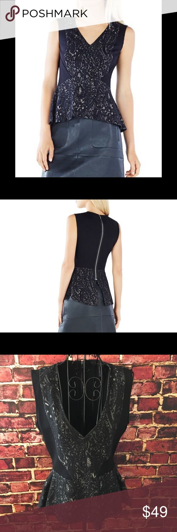 """🆕Listing! BCBGMaxAzria """"Steffiana"""" Peplum top Gorgeous black lace knit jacquard peplum top by BCBGMAXAZRIA. A great option to have in your wardrobe for a night out on the town or for your next special occasion. V-neck. Sleeveless. Exposed back zipper. Machine washable. Measures 23"""" from back neck to hem. Like new condition. BCBGMaxAzria Tops"""