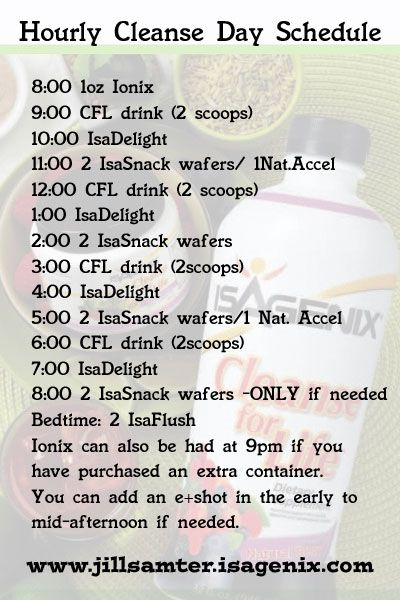Hourly Cleanse Schedule Save to your Phone #isagenix #30day The Official Site of Isagenix International http://thebody.isagenix.com/?sc_lang=en-US You go to this website but you can always come to us to sample it so you know what it taste like!