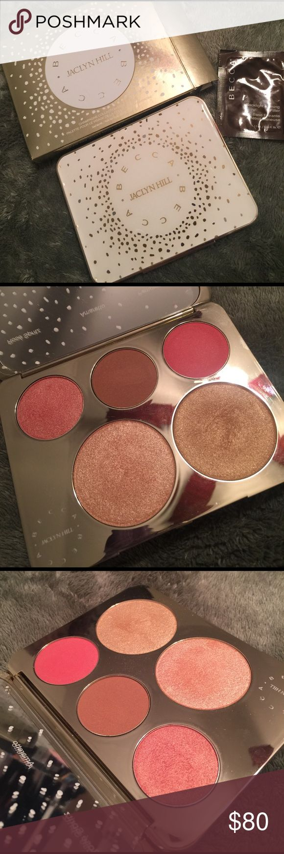 Becca Jaclyn Hill Face Palette Swatched the blushes, used Champagne Pop 2-3 times, but mostly used Prosecco Pop (but that's wasn't much either). Still have the original box & the sample it came with! *Open to offers* BECCA Makeup Luminizer