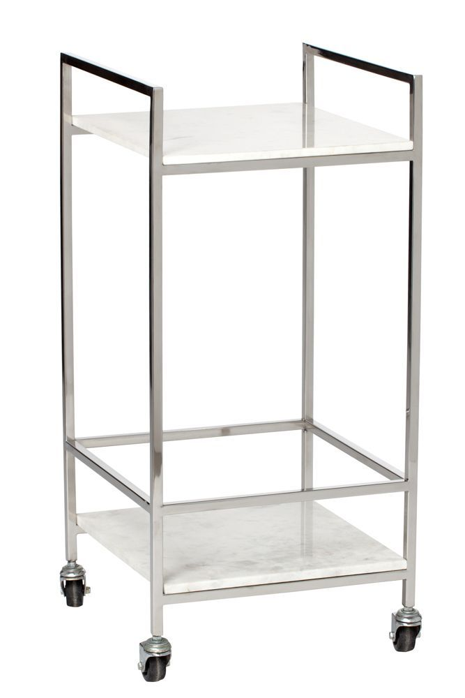 A petite bar cart, perfectly proportioned for small apartments, without skimping on style.Threshold Silver and Marble Bar Cart, $129.99, available at Target.  #refinery29 http://www.refinery29.com/2016/09/121503/new-target-fall-home-collection#slide-15