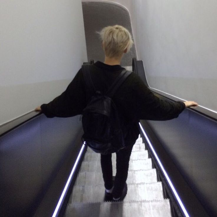 Blonde hair and escalators my faves