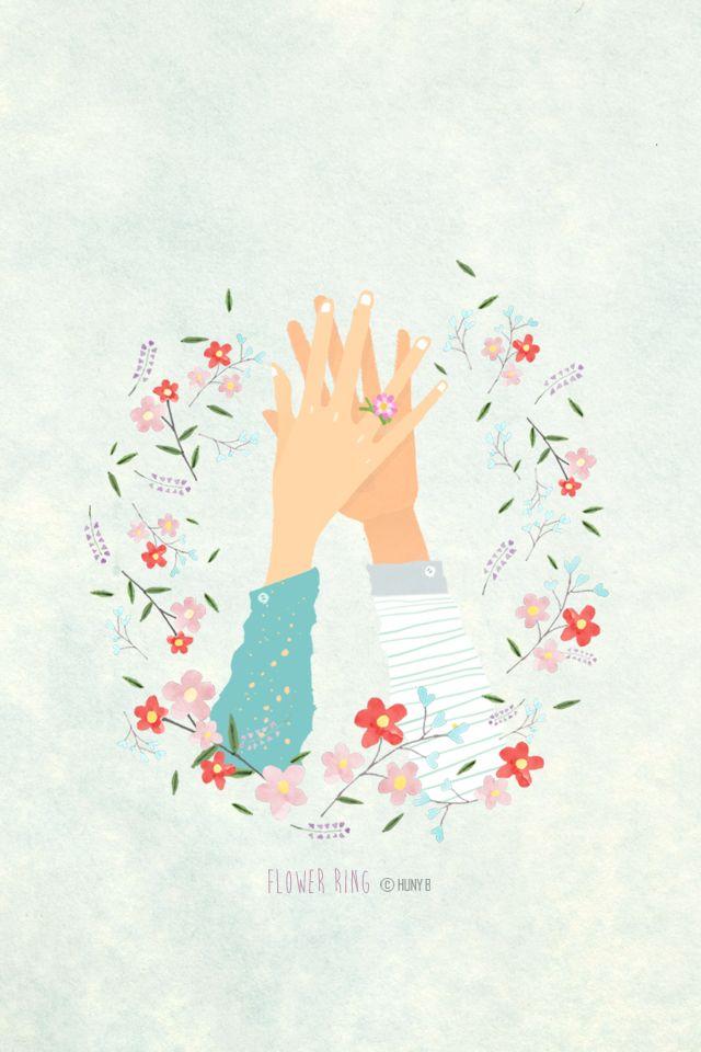 """[폰 배경, 폰 잠금화면 공유]일러스트 손그림 """"꽃반지"""" : 네이버 블로그"""
