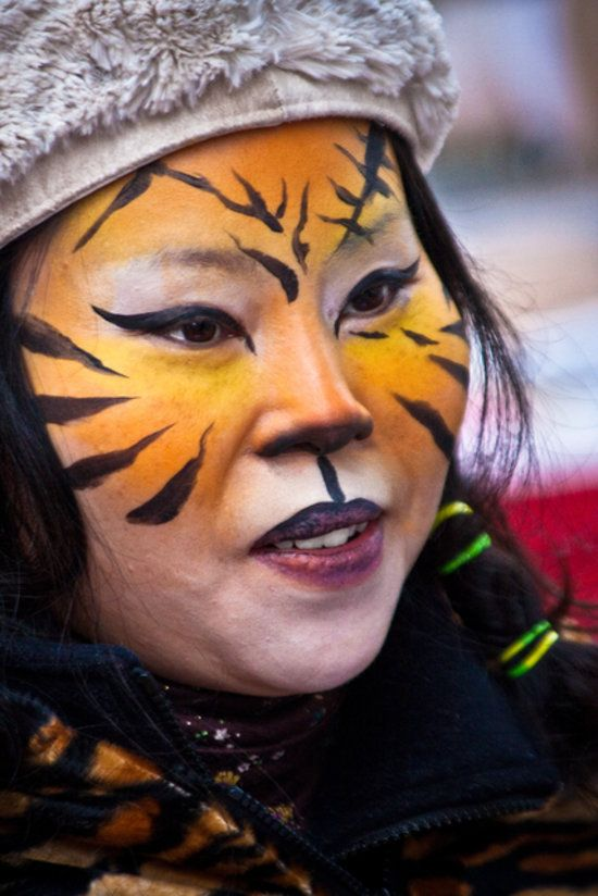 feed your feline frenzy with this easy to do tiger face paint - Easy Face Painting Halloween