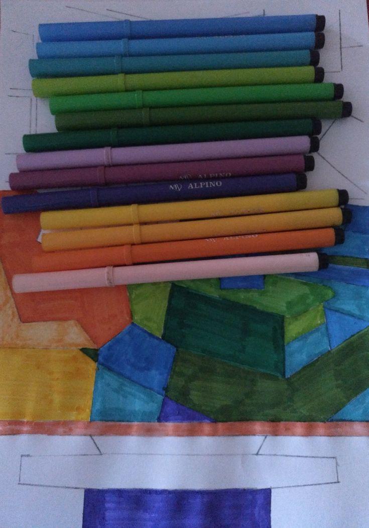 Para aplicar el color he utilizado rotuladores de diferentes colores y gamas.