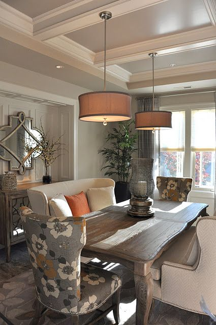 beautiful..: Dining Rooms, Idea, Benches, Lights Fixtures, Colors, Upholstered Chairs, Wood Tables, Dining Spaces, Dining Tables