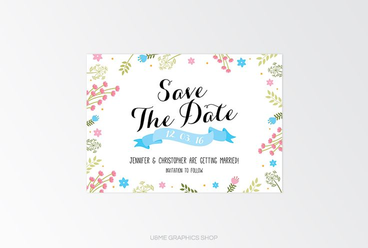 Save The Date Designs Cape Town South Africa - U&Me Graphics Shop   Floral save the date card