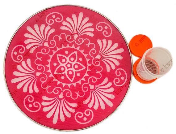 "8"" Panjabi Panjab Puja Pooja Mandana Rangoli Stencil Floor Art Plate Kolam Muggu  PRS0063"
