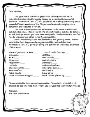 Candy House Parent Letter