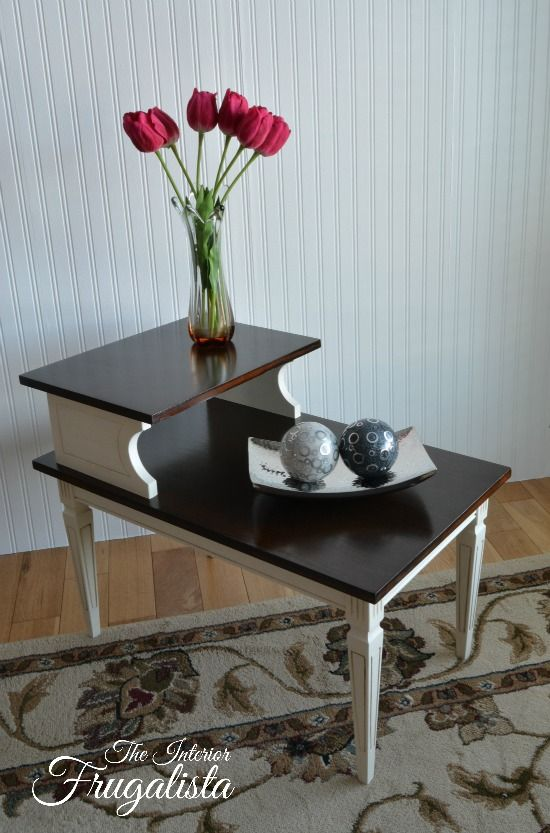 Mid Century Modern Tiered Table Makeover - I don't normally love painted furniture, but this one is gorgeous and I wish I had it.