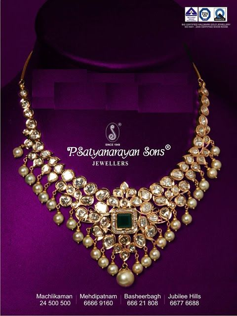 Indian Jewellery and Clothing: Uncut diamond diamond necklace with pearl drops from P.Satyanarayan sons jewellers..
