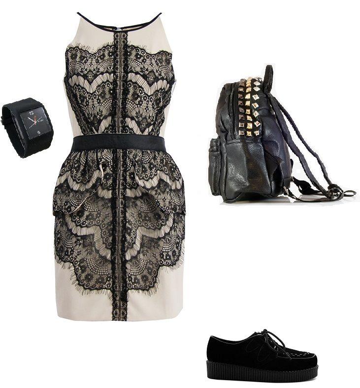 rock stylization, creamy dress with black lace, backpack, creeper shoes, www.magazyn.modadamska.waw.pl