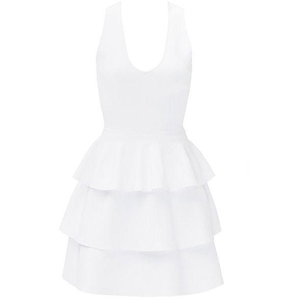 Rental Parker White Bermuda Dress (£48) ❤ liked on Polyvore featuring dresses, white, v neck dress, white sleeveless dress, sleeveless v neck dress, sleeveless dress and white day dress