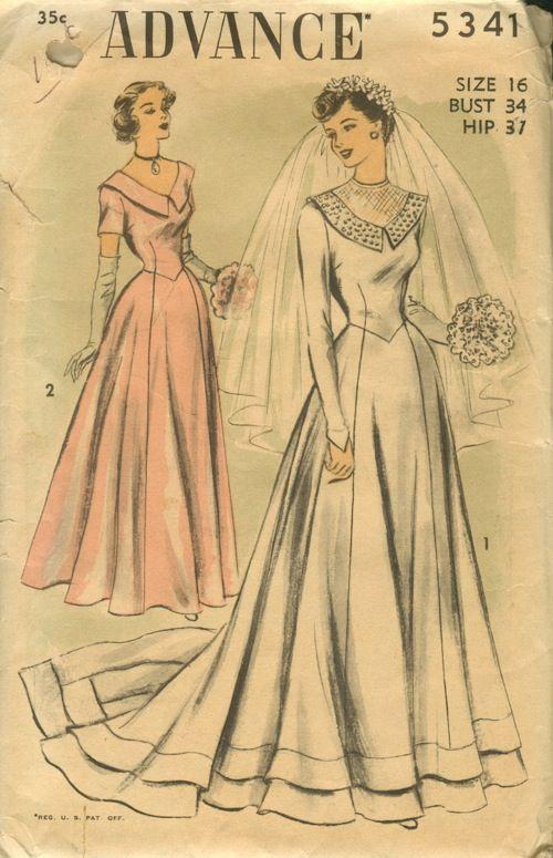 Patrones antiguos para diseños de vestidos de novias de los años 50.