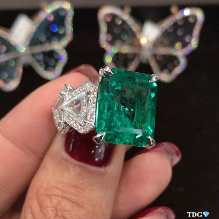 Busatti Milano. Via THEDIAMONDSGIRL (@thediamondsgirl) on Instagram: Spectacular emerald ring from @busattimilano, love the trillion shapes side diamonds, in fact I love every single detail on this beauty! Every time @davidebusatti from @busattimilano shows me their latest jewels I fall more and more in love with their creations! #thediamondsgirlxbaselworld