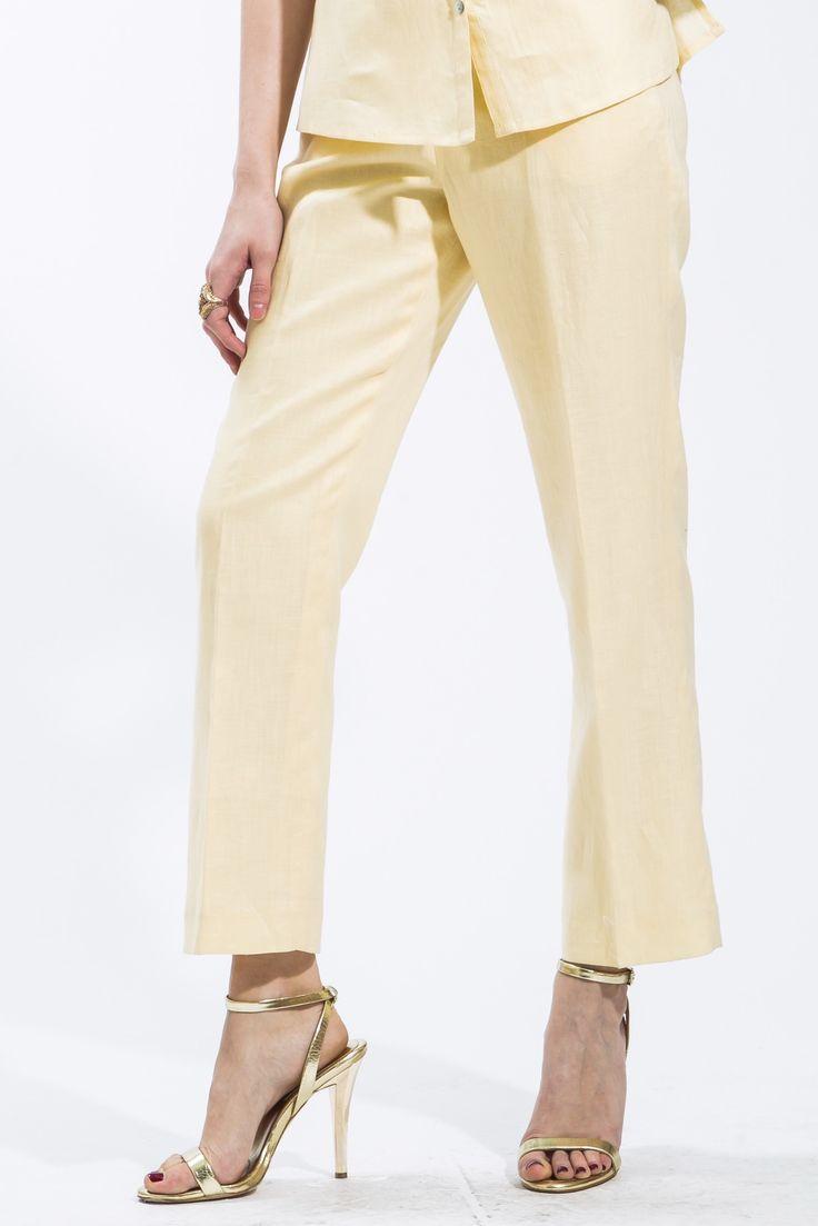 Light Yellow Linen Pants Style 1266