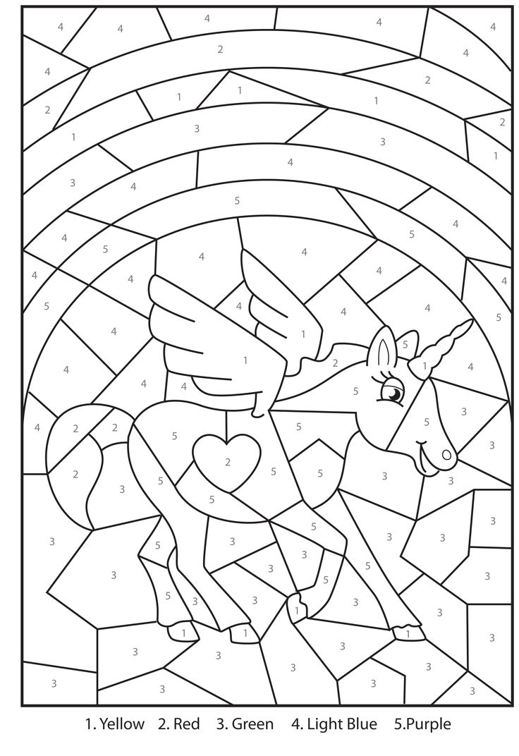 Numbers 1 for stylish free printable color by numbers coloring pages - Free Printable Magical Unicorn Color By Numbers Visit Site For Printable Version