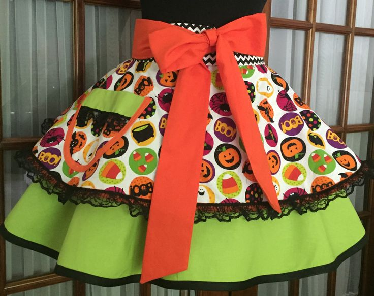 Halloween Apron - Halloween Half Apron - 1950s Retro Pin Up Apron by CookedWithLoveAprons on Etsy
