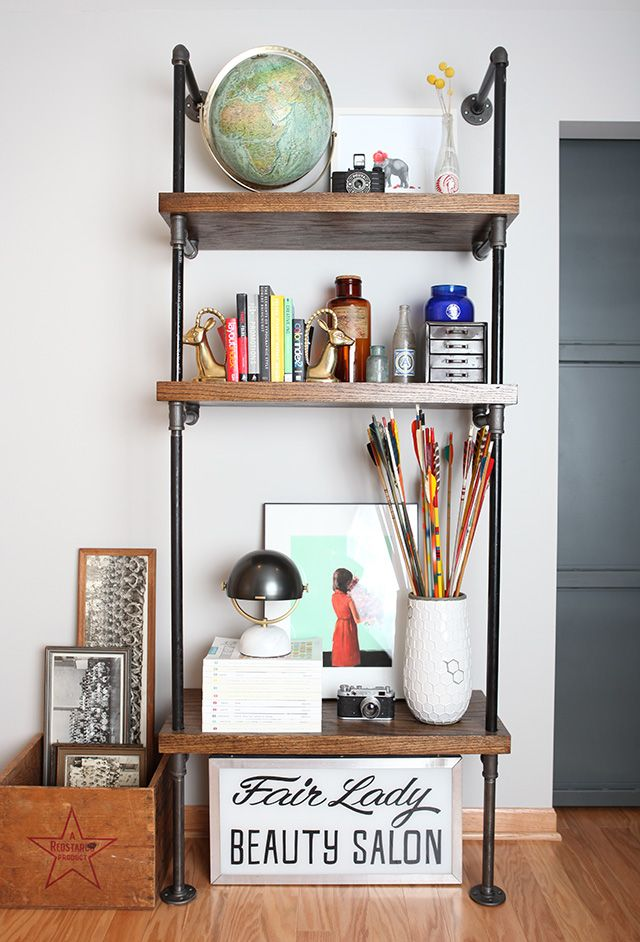 Styling shelves chalkboard walls : How to build a pipe shelf — diy  shelves, pipes and shelves