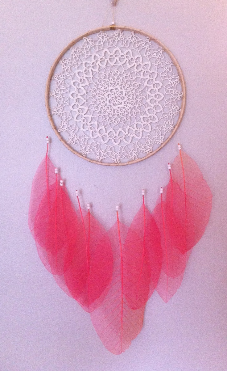 Sheer Pink Leaf #DREAMCATCHER with Irish Lace & FREE SHIPPING. 120.00, via Etsy by Rachael Rice http://cosmicamerican.etsy.com