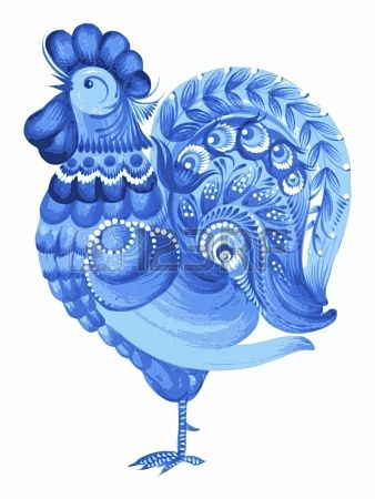 rooster, hand drawn, vector, illustration in Ukrainian folk style Stock Photo - 21448435