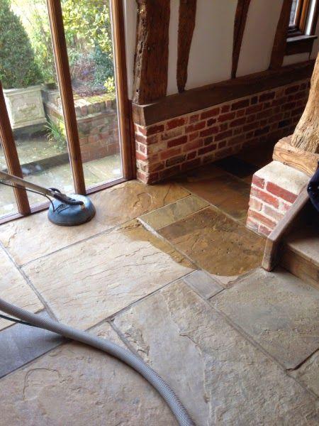 Sandstone floor cleaning and sealing in Saffron Walden