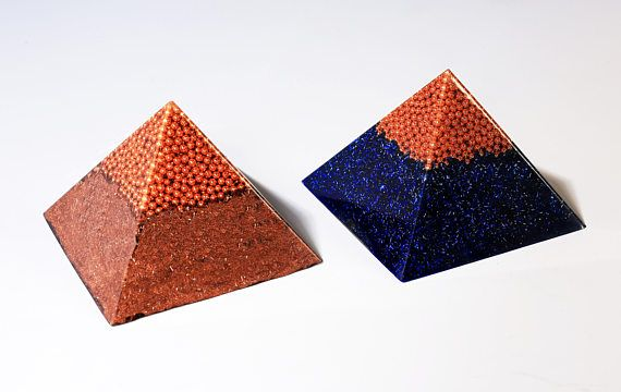 Orgone orgonite® pyramid, medium size, with gold- plated (24K) MWO by Lakhovsky, Golden Ratio Antenna, EMF Protection, energy booster