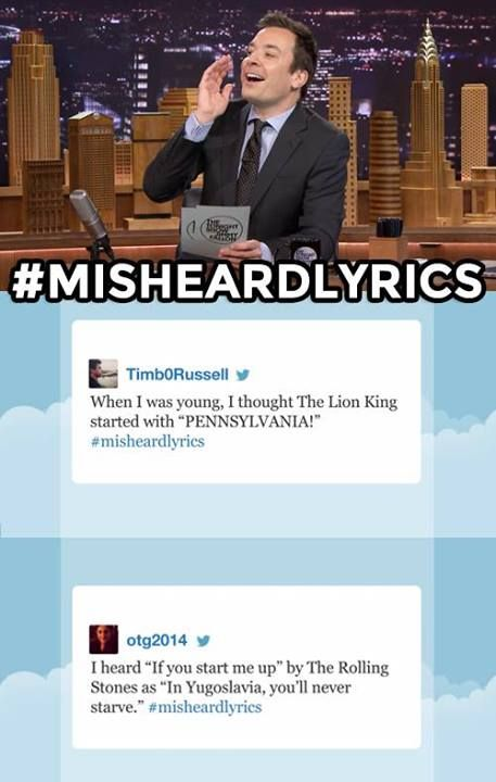 #misheardlyrics Tonight show with jimmy fallon.. and this is ME.. I butcher lyrics all the time.. Lol