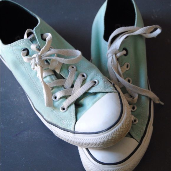 Mint chucks. #Theperfectshoe These shoes have been worn only about 20 times and are super comfy and awesome!! Converse Shoes Sneakers