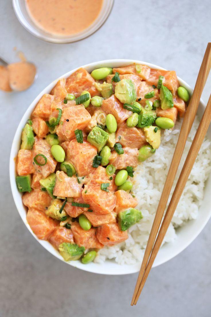 Poke Bowl, Lachs, Sauce, Bohnen, Reis, gesund, Sommer, Gerichte, Rezepte, Kochhaus