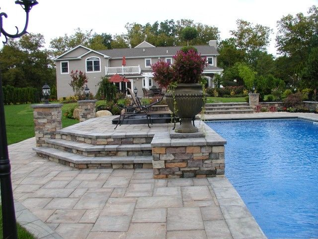 Cambridge Pavingstone Steps Are A Great Addition To Any Backyard Pool Patio.