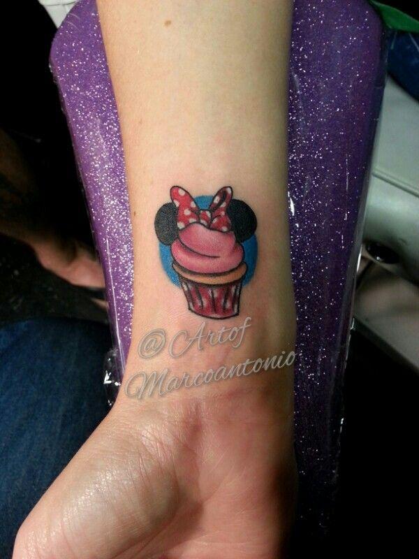 Minnie mouse disney inspired cupcake tattoo