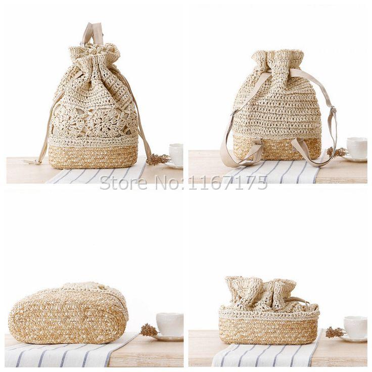 Ručné práce CROCHET batohy Dámske plážové tašky slamy 4 Color 2015 nový