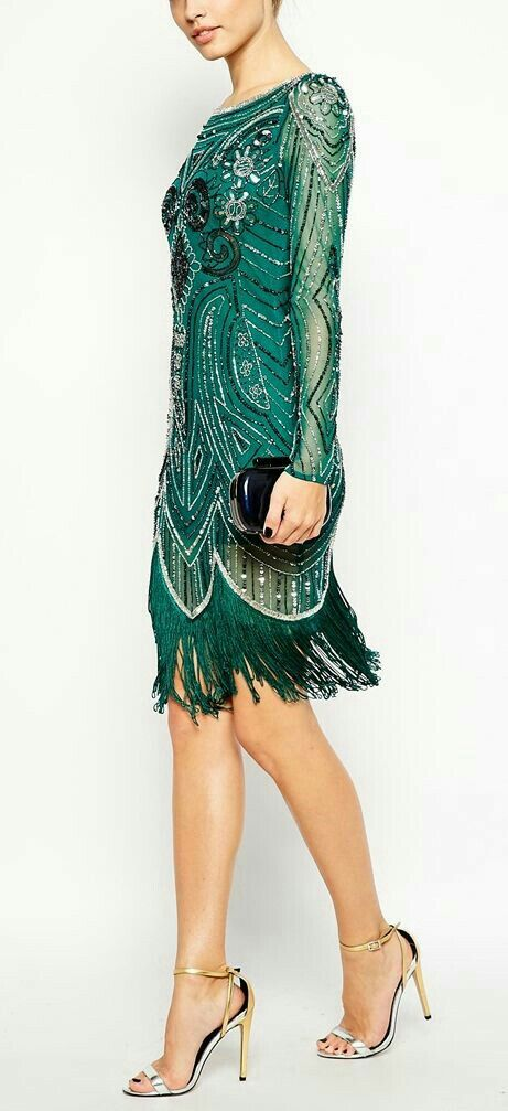 Fun emerald Art Deco/flapper inspired dress!