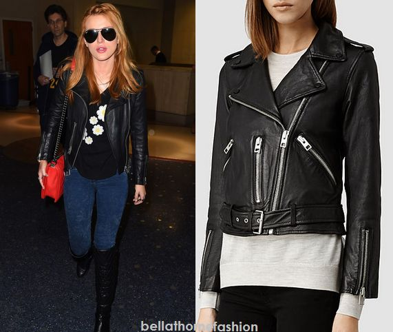 Bella Thorne wears this All Saints Balfern Leather Biker Jacket ABC Studios in New York City on December 3rd 2014