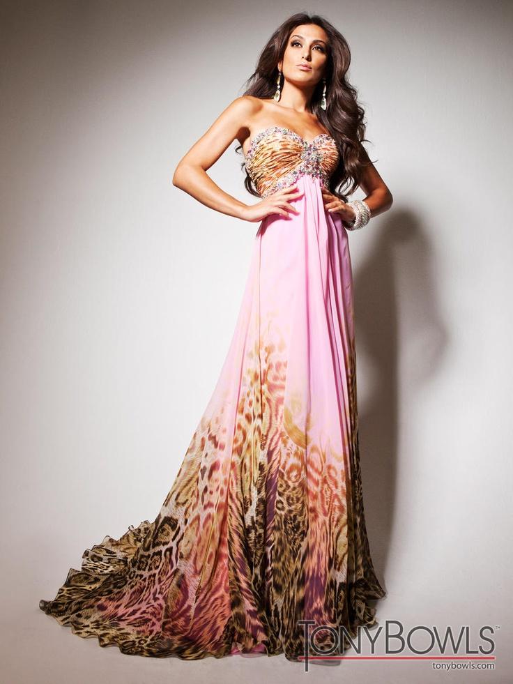 Tony Bowls Le Gala Dress in Chiffon with animal print and rhinestones.  #prom2013 #juniperdress #tonybowls #rhinestones #patterned #animalprint