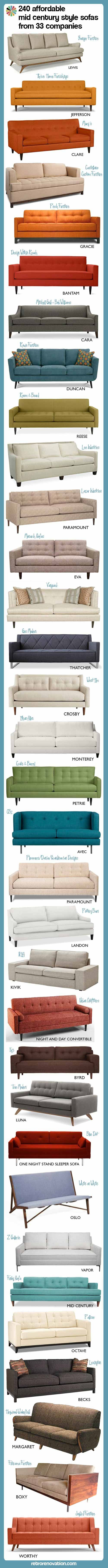 240 affordable mid century modern style sofas -- from 33 companies - Retro Renovation