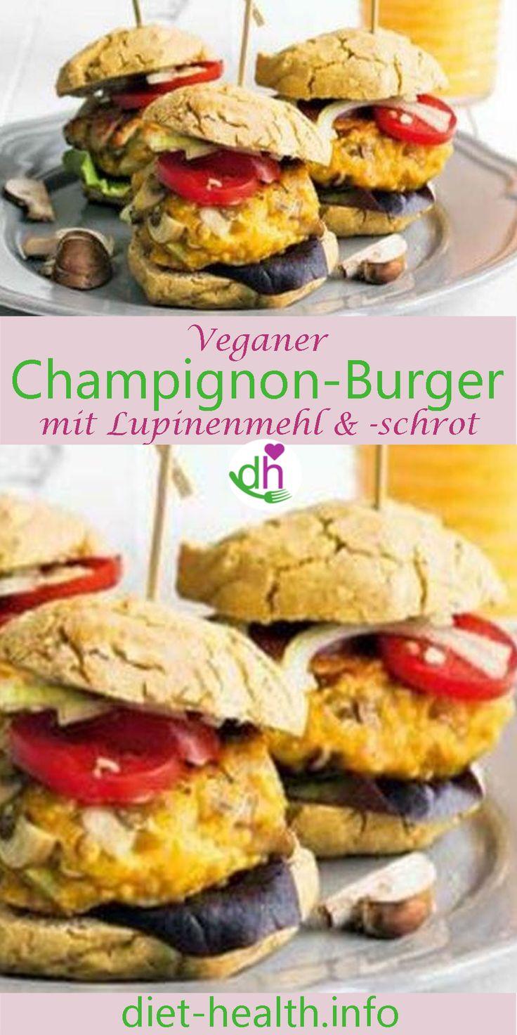 """Kreieren Sie einen Burger Ihrer Wahl und probieren Sie dieses Rezept für die #vegan-en Burger-""""Patties"""" aus! Sie bestehen aus einer leckeren und eiweissreichen Kombination aus Champignons und Lupine! Das Rezept stammt aus dem Buch """"Lupinen-Power"""" von Elisa Epping. #vegan"""