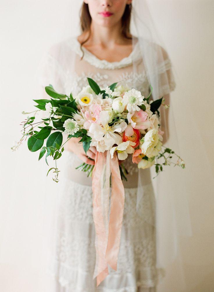 Morning of inspiration with a beautiful bouquet   Photography: Kurt Boomer - www.kurtboomer.com  Read More: http://www.stylemepretty.com/california-weddings/2014/11/06/morning-of-wedding-inspiration-shoot/