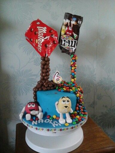 Gravity defying m&m & maltesers cake - red velvet cake with white chocolate buttercream, covered in sweets & handmade m&m characters