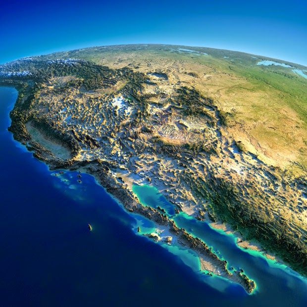 Western United States and Mexico. These interesting relief maps have been created by Anton Balazh with elements furnished by NASA