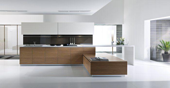 une élégante variante de la cuisine laquée sol gris et murs blancs