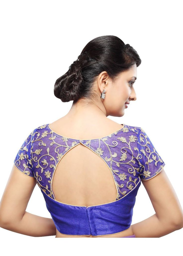 Designer Royal-Blue Net Back Open Ready-made Saree Blouse Choli