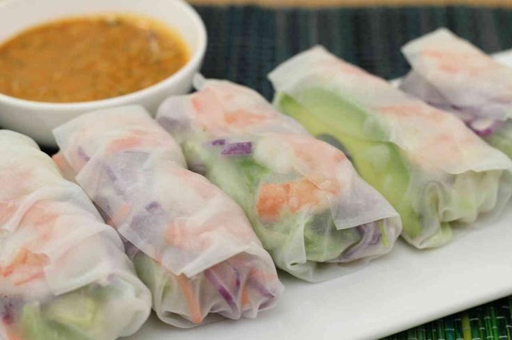 fresh spring rolls - with shrimp, peanut sauce recipe included