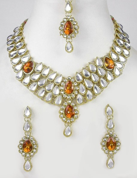 Gold Tone CZ AD Fashion Kundan Necklace Set with Maang Tikka