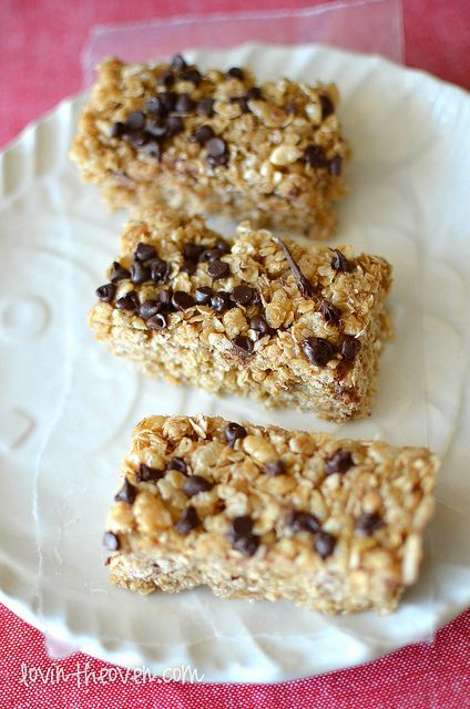 No bake chocolate chip granola bars made with butter, honey, brown ...